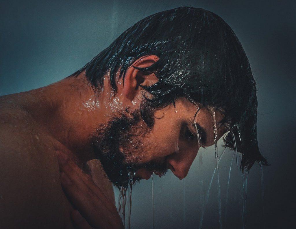 man-shower